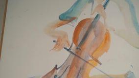 Pintura al óleo original del jugador del violín almacen de video