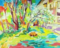 Pintura al óleo original del paisaje del verano Fotografía de archivo