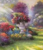 Pintura al óleo original el jardín Imagenes de archivo