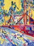Pintura al óleo original en la lona del pueblo del invierno ilustración del vector