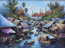 Pintura al óleo original en la lona - vida de la orilla del agua foto de archivo