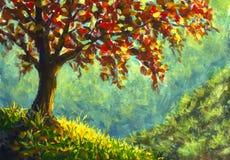 Pintura al óleo original en lona Árbol del otoño en paisaje soleado del lado de la montaña imagenes de archivo