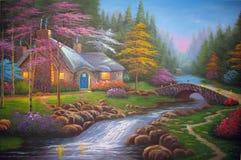 Pintura al óleo original la cabaña de la noche Imágenes de archivo libres de regalías