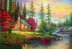 Pintura al óleo original la casa en el bosque Fotos de archivo libres de regalías