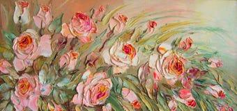 Pintura al óleo original las rosas Imagen de archivo libre de regalías