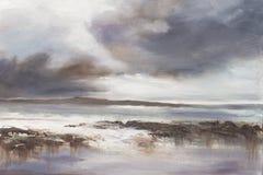 Pintura al óleo original, paisaje marino tempestuoso de la playa Fotos de archivo
