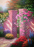 Pintura al óleo original Rose Garden Imagen de archivo