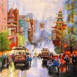 Pintura al óleo original San Francisco Foto de archivo libre de regalías