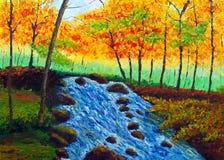 Pintura al óleo - otoño entrante Imagenes de archivo