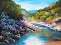 Pintura al óleo - río de la montaña, flores cerca de las rocas Fotos de archivo libres de regalías
