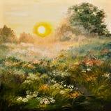 Pintura al óleo - salida del sol en el campo, trabajo de arte Fotos de archivo