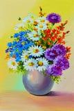 Pintura al óleo - todavía vida, un ramo de flores Fotos de archivo libres de regalías