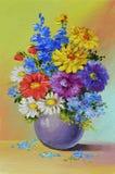 Pintura al óleo - todavía vida, un ramo de flores Fotos de archivo