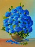 Pintura al óleo - todavía vida, un ramo de flores Imagen de archivo