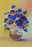 Pintura al óleo - todavía vida, un ramo de flores Imágenes de archivo libres de regalías