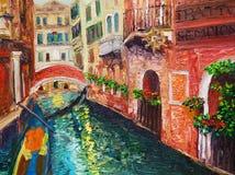 Pintura al óleo - Venecia, Italia stock de ilustración