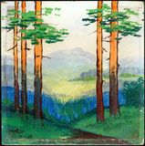Pintura al óleo del paisaje del verano Imagen de archivo