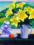 Pintura al óleo - lirio floreciente Imagen de archivo