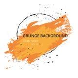 A pintura alaranjada da mão artística seca a ilustração do vetor do Grunge do curso da escova Fotos de Stock
