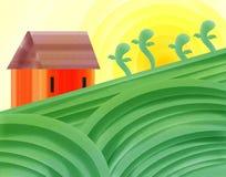Pintura alaranjada do sumário da terra da casa ilustração royalty free