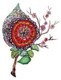 Pintura alaranjada vermelha abstrata da flor Fotografia de Stock Royalty Free