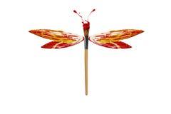 A pintura amarela branca vermelha fez a libélula Foto de Stock Royalty Free