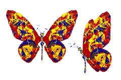 Pintura amarilla azul roja hecha sistema de la mariposa Imagen de archivo libre de regalías
