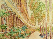 Pintura antiga do impressionismo da construção do arco Imagens de Stock Royalty Free