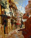 Pintura antigua de la ciudad de Italia en colores de aceite de acrílico foto de archivo