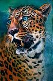 Pintura artística, colorida do leopardo, pardus do Panthera, isolado no fundo azul e verde com um toque do ambiente ilustração royalty free