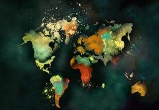 Pintura artística del mapa del mundo ilustración del vector