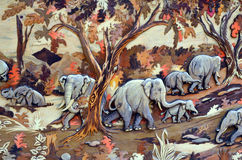 Pintura, arte, elefante, vida selvagem, beleza, natureza Imagens de Stock Royalty Free