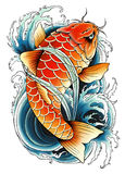 Pintura asiática da carpa Imagem de Stock