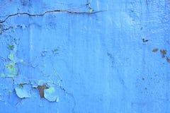 Pintura azul con las grietas Foto de archivo libre de regalías
