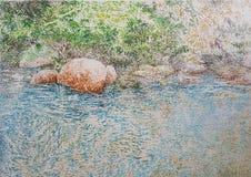 Pintura azul da textura do close up do óleo da reflexão da água do lago ilustração royalty free