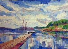Pintura azul do lago da reflexão da água ilustração stock