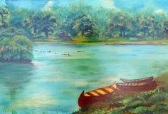 Pintura, barcos, árvores e patos do rio Fotos de Stock