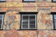 Pintura barroca de la fachada en el Grazer Herrengasse en Graz Imagen de archivo