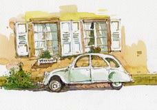 Pintura blanca de la acuarela del coche del vintage de los escarabajos viejos de Volkswagen stock de ilustración