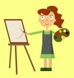 Pintura bonita da mulher do artista Foto de Stock