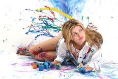 Pintura bonita da mulher nova Imagem de Stock Royalty Free