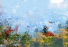 Pintura bonita do céu da natureza do fundo da vegetação de floresta do curso da mola da expressão da ilustração Imagem de Stock
