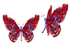 Pintura branca azul vermelha feita grupo da borboleta Fotografia de Stock
