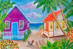 Pintura, casas na praia agricultura Cores brilhantes ilustração stock