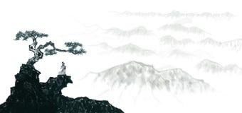 Pintura china de la tinta del paisaje altamente artístico stock de ilustración