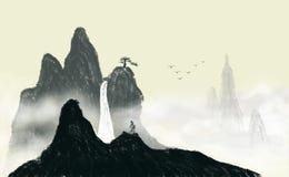 Pintura china de la tinta del paisaje del pájaro de vuelo stock de ilustración