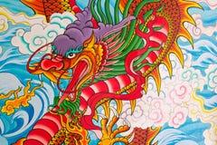Pintura china del dragón en la pared Imagenes de archivo