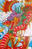 Pintura china del dragón en la pared Foto de archivo