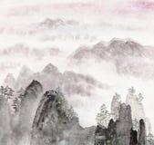 Pintura china del paisaje de la alta montaña Fotos de archivo