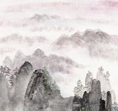 Pintura china del paisaje de la alta montaña